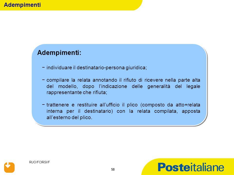 RUO/FCIRSI/F 58 Adempimenti: −individuare il destinatario-persona giuridica; −compilare la relata annotando il rifiuto di ricevere nella parte alta de
