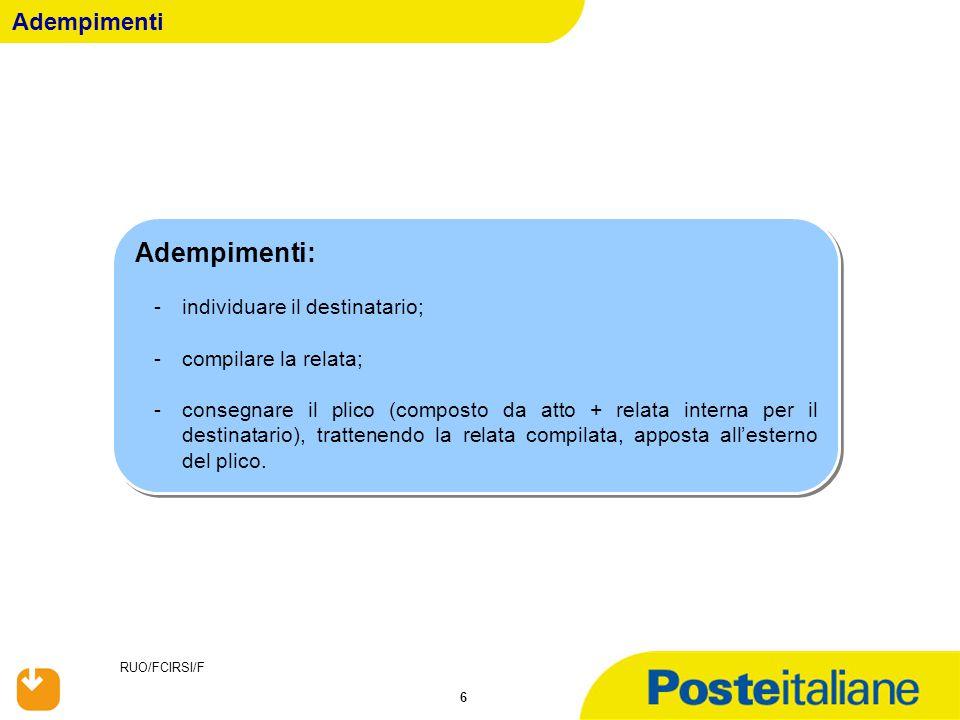 RUO/FCIRSI/F 67 Avviso di Avvenuta Notifica Equitalia………S.p.a.