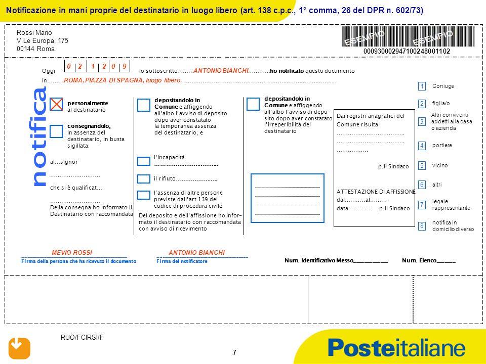 RUO/FCIRSI/F 38 Avviso di Notifica di Atto mediante deposito nella Casa Comunale