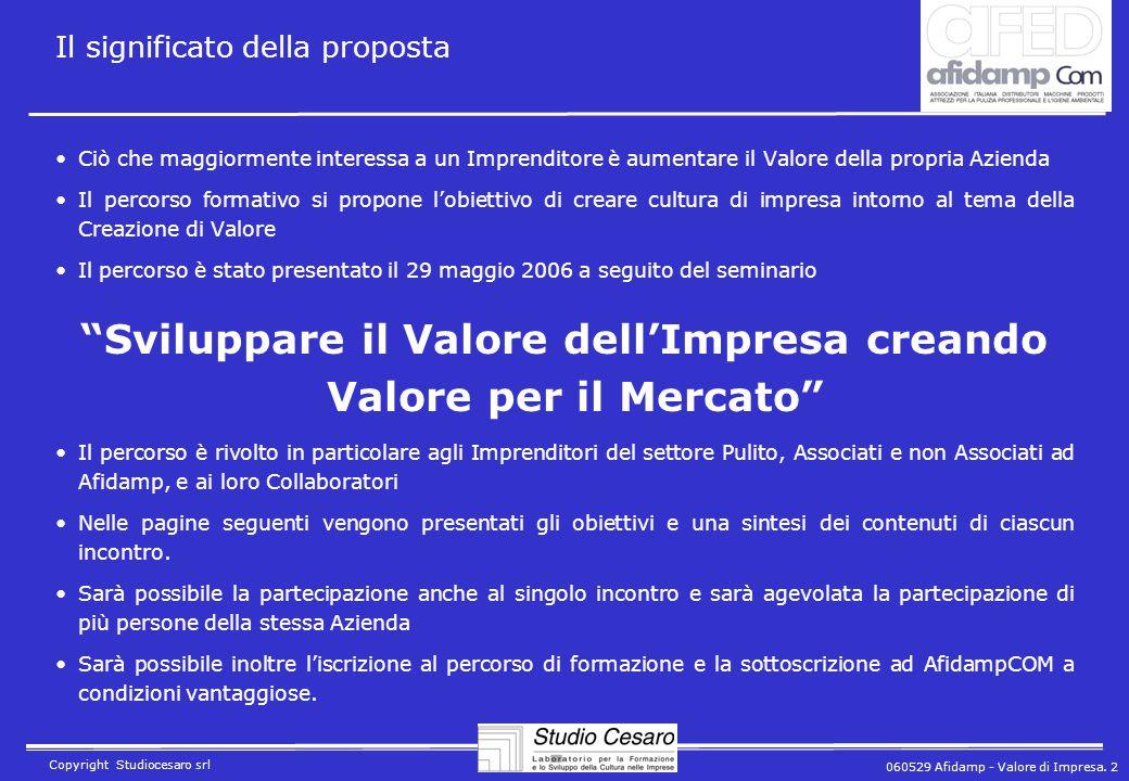 060529 Afidamp - Valore di Impresa. 2 Copyright Studiocesaro srl Il significato della proposta Ciò che maggiormente interessa a un Imprenditore è aume