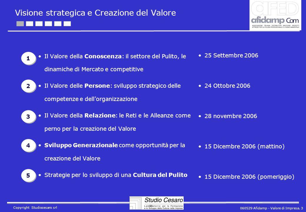 060529 Afidamp - Valore di Impresa. 3 Copyright Studiocesaro srl Visione strategica e Creazione del Valore Il Valore della Conoscenza: il settore del