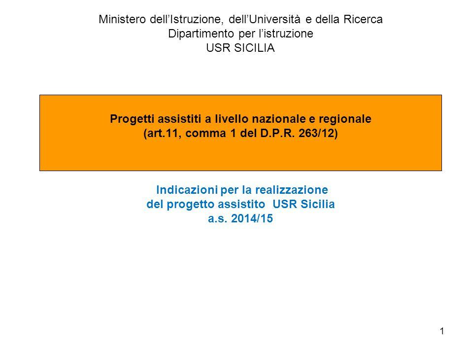 Progetto Assistito per nuovo assetto CPIA - Coordinatore Fiorella Palumbo 2 PROGETTO ASSISTITO A LIVELLO REGIONALE USR SICILIA CENTRI PER L'ISTRUZIONE DEGLI ADULTI Il progetto fonda nel DPR 263/2012 recante norme generali per la ridefinizione dell'assetto organizzativo didattico dei Centri d'istruzione per gli adulti, ivi compresi i corsi serali In particolare l'art.1, comma 1 del DPR 263/2012 prevede che l'attuazione del nuovo assetto organizzativo e didattico dei Centri è graduale che si è realizzato per l'a.s.