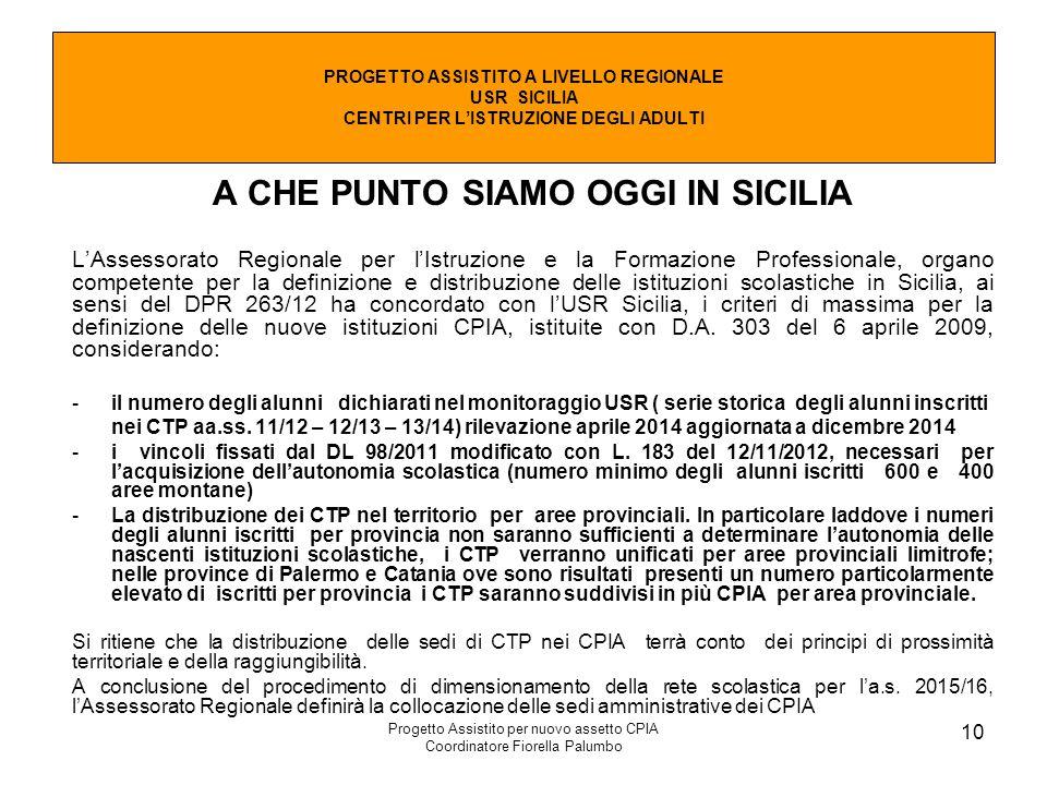 Progetto Assistito per nuovo assetto CPIA Coordinatore Fiorella Palumbo 10 A CHE PUNTO SIAMO OGGI IN SICILIA L'Assessorato Regionale per l'Istruzione