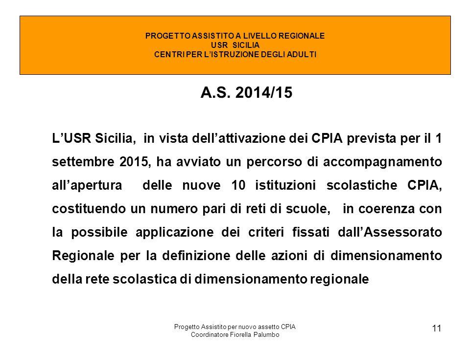 Progetto Assistito per nuovo assetto CPIA Coordinatore Fiorella Palumbo 11 A.S. 2014/15 L'USR Sicilia, in vista dell'attivazione dei CPIA prevista per