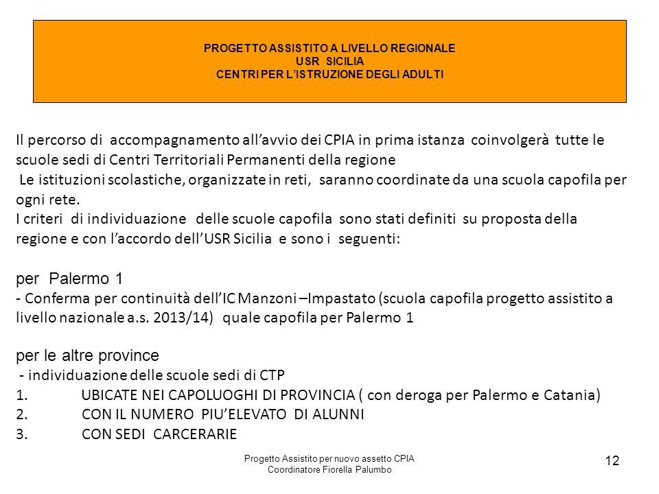 Progetto Assistito per nuovo assetto CPIA Coordinatore Fiorella Palumbo 12 PROGETTO ASSISTITO A LIVELLO REGIONALE USR SICILIA CENTRI PER L'ISTRUZIONE