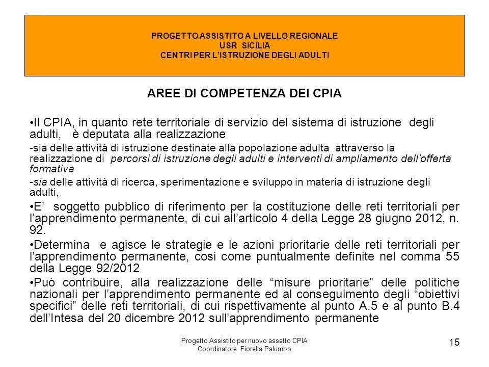 Progetto Assistito per nuovo assetto CPIA Coordinatore Fiorella Palumbo 15 AREE DI COMPETENZA DEI CPIA Il CPIA, in quanto rete territoriale di servizi