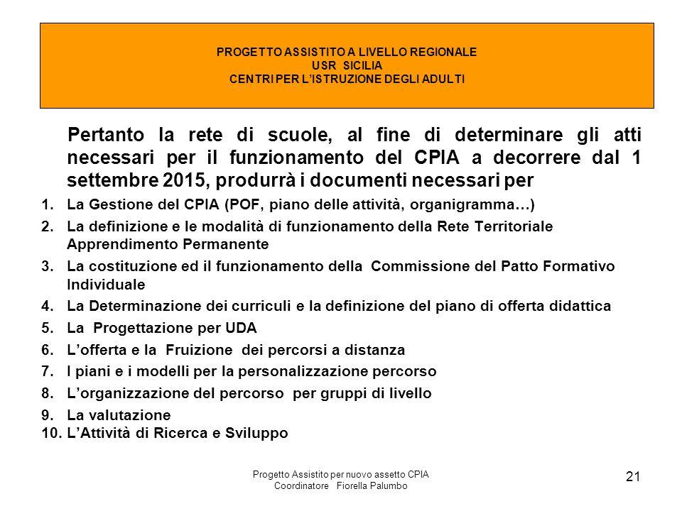 Progetto Assistito per nuovo assetto CPIA Coordinatore Fiorella Palumbo 21 Pertanto la rete di scuole, al fine di determinare gli atti necessari per i