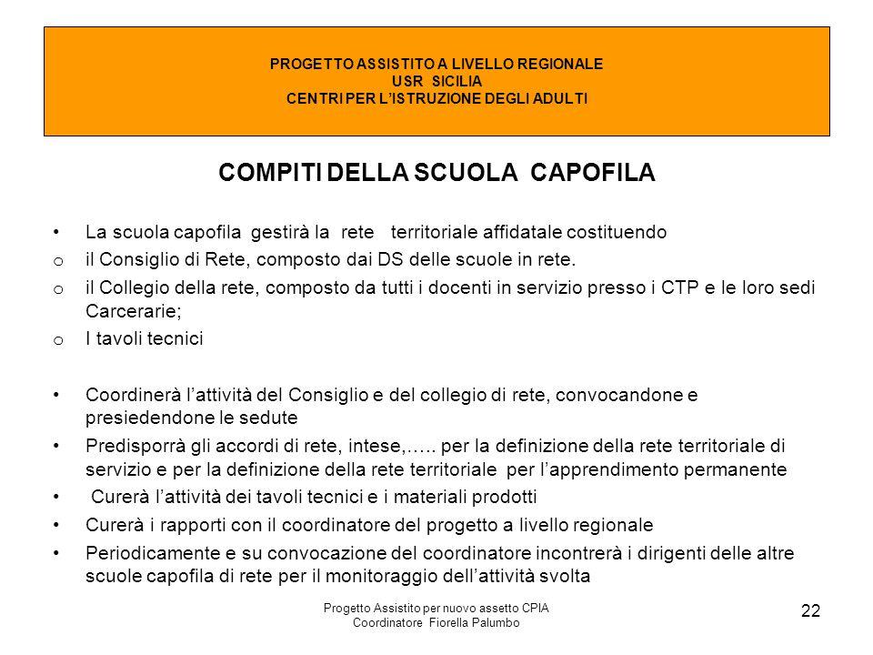 Progetto Assistito per nuovo assetto CPIA Coordinatore Fiorella Palumbo 22 COMPITI DELLA SCUOLA CAPOFILA La scuola capofila gestirà la rete territoria