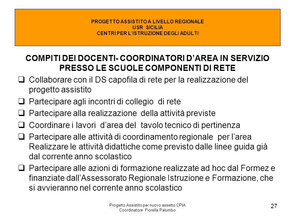 Progetto Assistito per nuovo assetto CPIA Coordinatore Fiorella Palumbo 27 COMPITI DEI DOCENTI- COORDINATORI D'AREA IN SERVIZIO PRESSO LE SCUOLE COMPO
