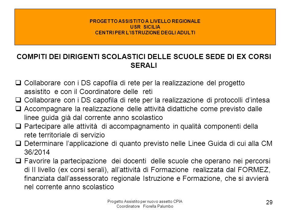 Progetto Assistito per nuovo assetto CPIA Coordinatore Fiorella Palumbo 29 PROGETTO ASSISTITO A LIVELLO REGIONALE USR SICILIA CENTRI PER L'ISTRUZIONE