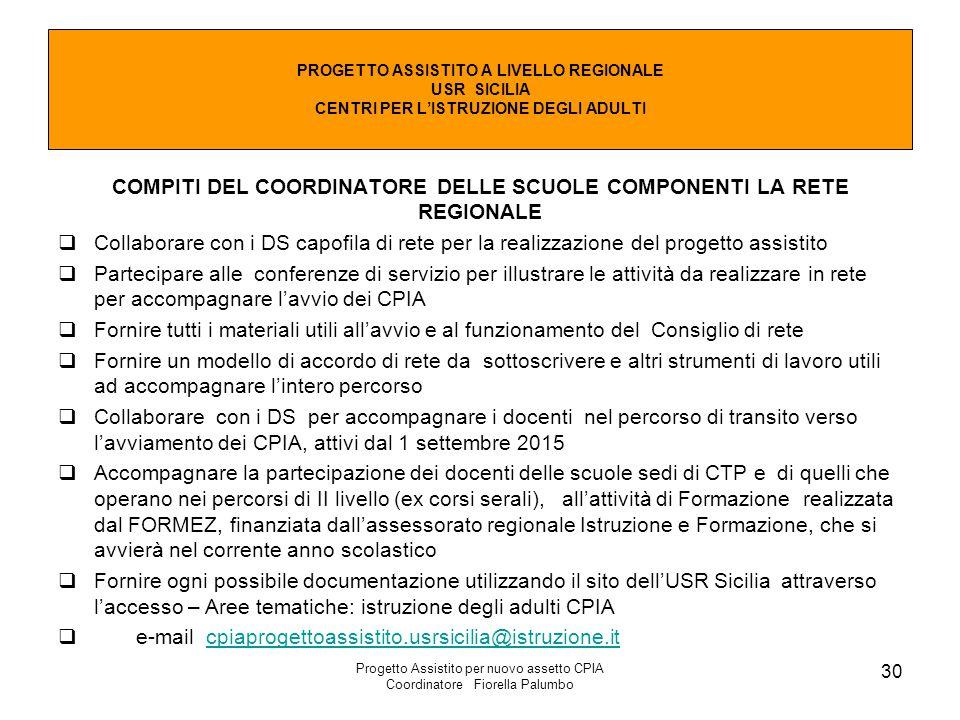 Progetto Assistito per nuovo assetto CPIA Coordinatore Fiorella Palumbo 30 COMPITI DEL COORDINATORE DELLE SCUOLE COMPONENTI LA RETE REGIONALE  Collab
