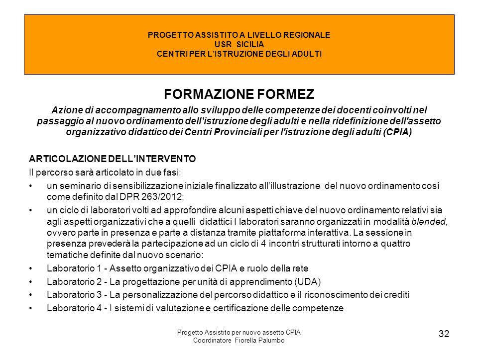 Progetto Assistito per nuovo assetto CPIA Coordinatore Fiorella Palumbo 32 PROGETTO ASSISTITO A LIVELLO REGIONALE USR SICILIA CENTRI PER L'ISTRUZIONE