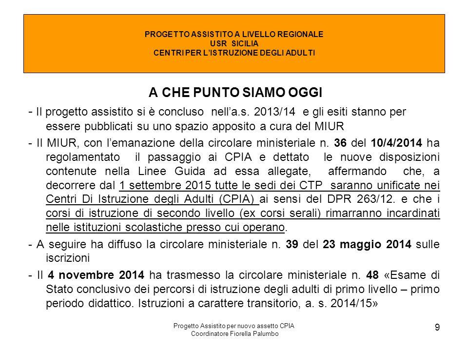 Progetto Assistito per nuovo assetto CPIA Coordinatore Fiorella Palumbo 9 A CHE PUNTO SIAMO OGGI - Il progetto assistito si è concluso nell'a.s. 2013/
