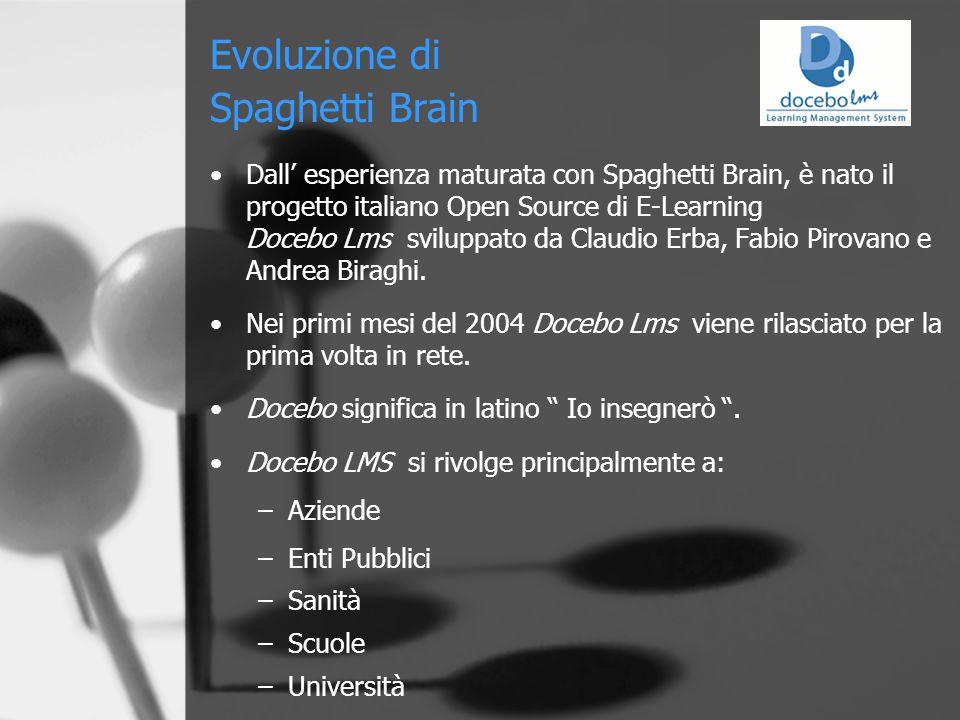 Evoluzione di Spaghetti Brain Dall' esperienza maturata con Spaghetti Brain, è nato il progetto italiano Open Source di E-Learning Docebo Lms sviluppato da Claudio Erba, Fabio Pirovano e Andrea Biraghi.