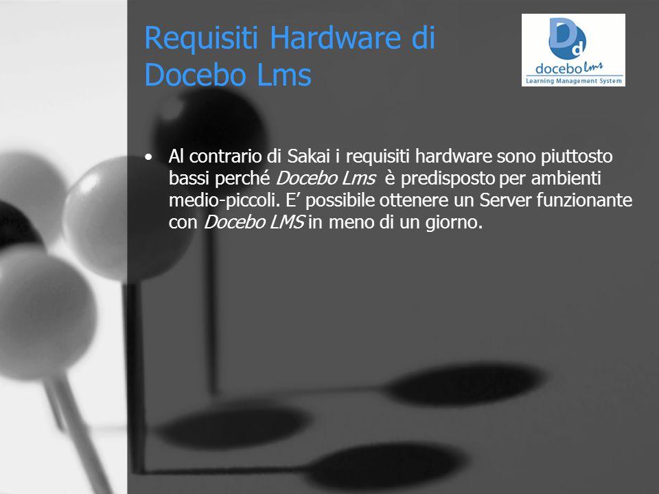 Requisiti Hardware di Docebo Lms Al contrario di Sakai i requisiti hardware sono piuttosto bassi perché Docebo Lms è predisposto per ambienti medio-piccoli.
