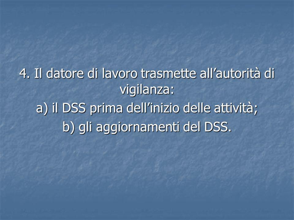 4. Il datore di lavoro trasmette all'autorità di vigilanza: a) il DSS prima dell'inizio delle attività; b) gli aggiornamenti del DSS.