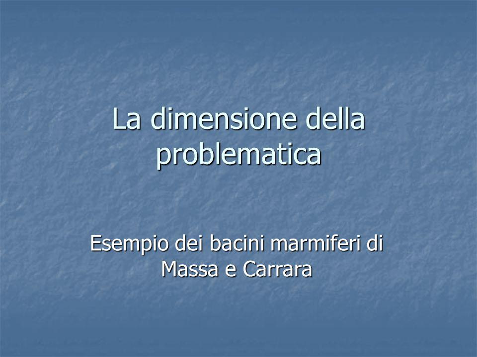 La dimensione della problematica Esempio dei bacini marmiferi di Massa e Carrara
