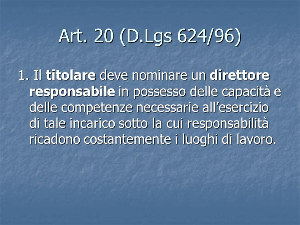 Art.20 (D.Lgs 624/96) 1.