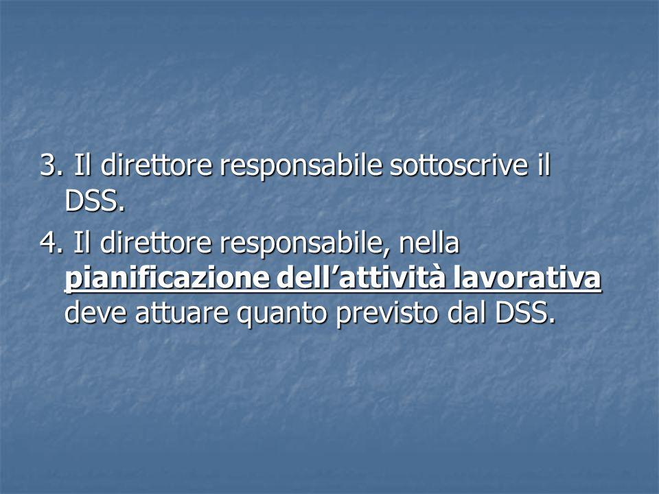 3.Il direttore responsabile sottoscrive il DSS. 4.