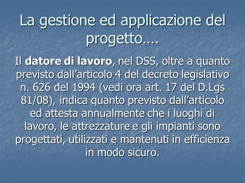 La gestione ed applicazione del progetto….
