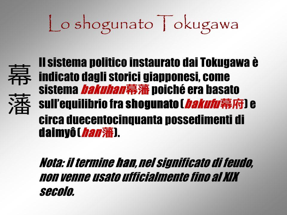 Lo shogunato Tokugawa Il sistema politico instaurato dai Tokugawa è indicato dagli storici giapponesi, come sistema bakuhan 幕藩 poiché era basato sull'