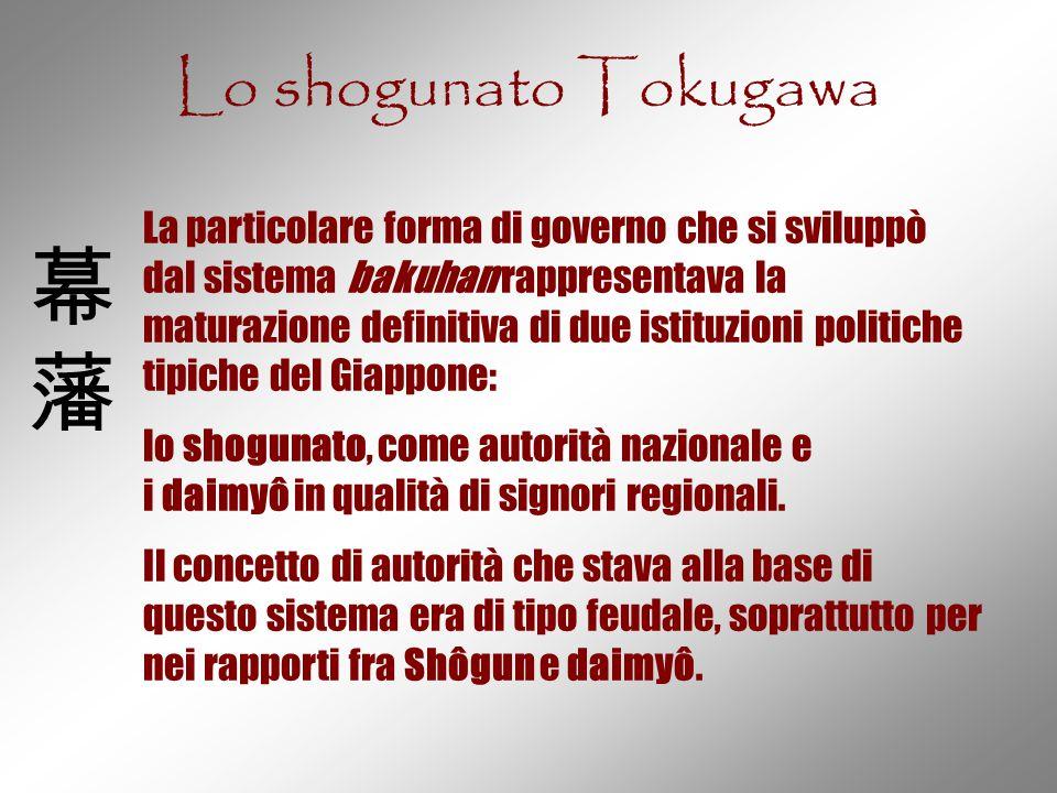 Lo shogunato Tokugawa La particolare forma di governo che si sviluppò dal sistema bakuhan rappresentava la maturazione definitiva di due istituzioni p