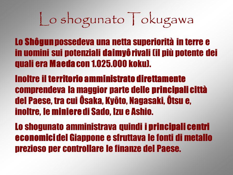 Lo shogunato Tokugawa Lo Shôgun possedeva una netta superiorità in terre e in uomini sui potenziali daimyô rivali (il più potente dei quali era Maeda