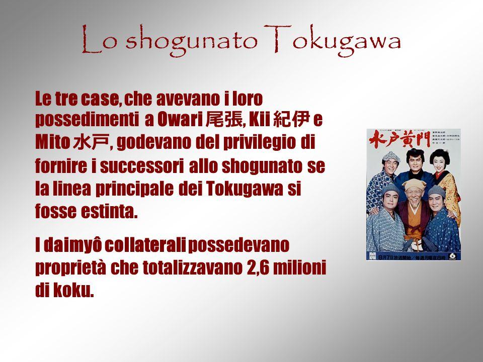 Lo shogunato Tokugawa Le tre case, che avevano i loro possedimenti a Owari 尾張, Kii 紀伊 e Mito 水戸, godevano del privilegio di fornire i successori allo