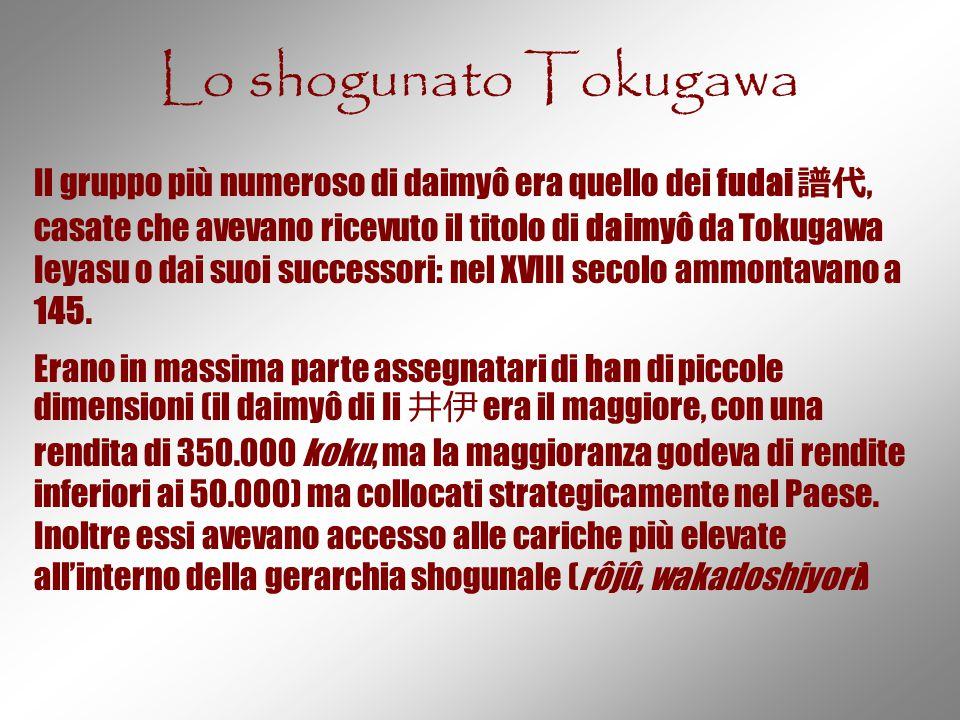 Lo shogunato Tokugawa Il gruppo più numeroso di daimyô era quello dei fudai 譜代, casate che avevano ricevuto il titolo di daimyô da Tokugawa Ieyasu o d