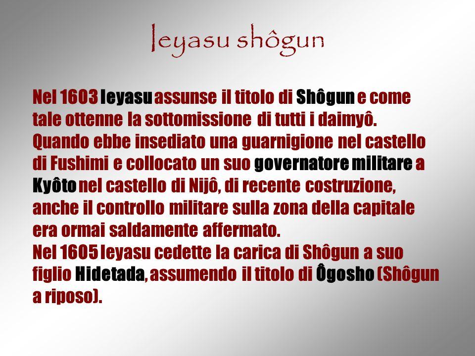 Ieyasu shôgun Nel 1603 Ieyasu assunse il titolo di Shôgun e come tale ottenne la sottomissione di tutti i daimyô. Quando ebbe insediato una guarnigion