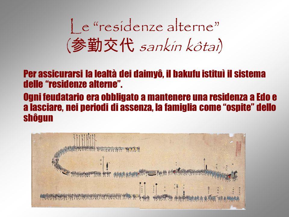 """Le """"residenze alterne"""" ( 参勤交代 sankin kôtai) Per assicurarsi la lealtà dei daimyô, il bakufu istituì il sistema delle """"residenze alterne"""". Ogni feudata"""
