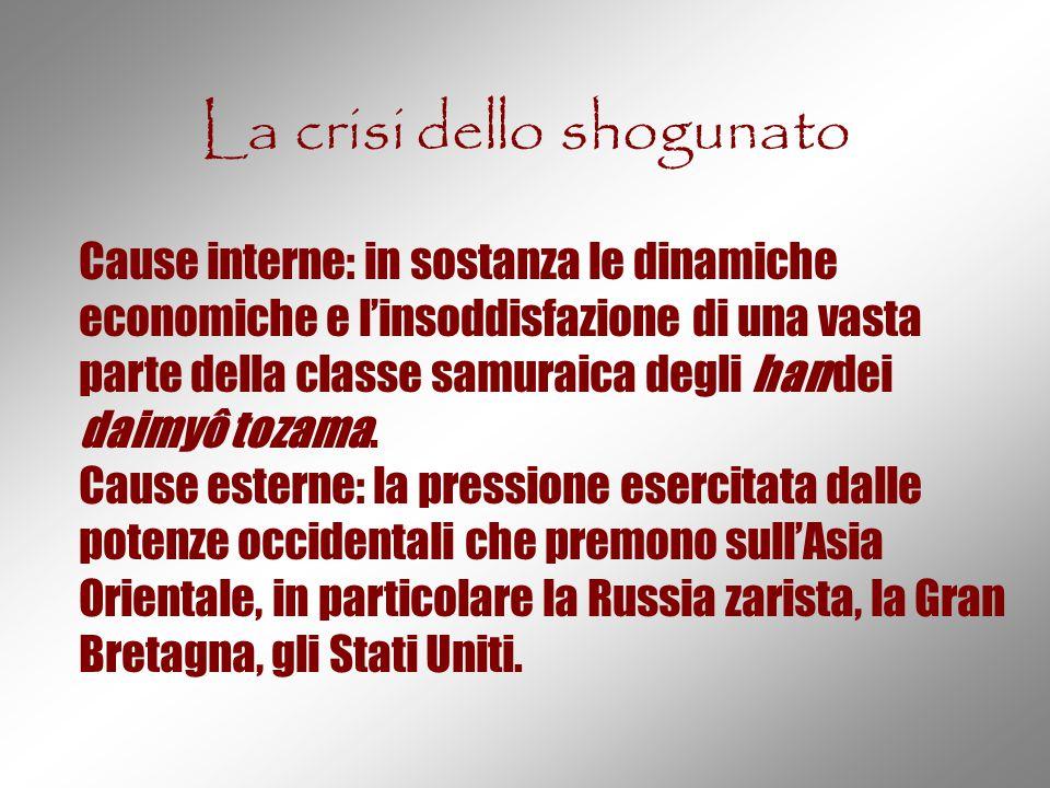 La crisi dello shogunato Cause interne: in sostanza le dinamiche economiche e l'insoddisfazione di una vasta parte della classe samuraica degli han de