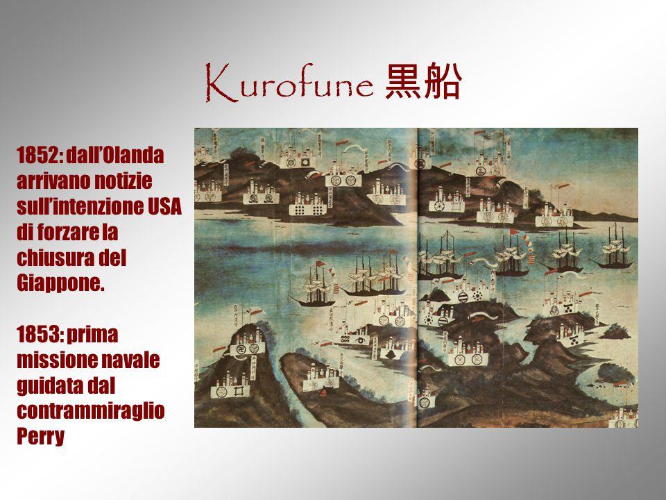Kurofune 黒船 1852: dall'Olanda arrivano notizie sull'intenzione USA di forzare la chiusura del Giappone. 1853: prima missione navale guidata dal contra