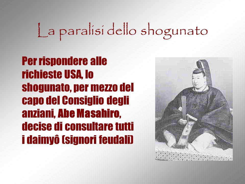 La paralisi dello shogunato Per rispondere alle richieste USA, lo shogunato, per mezzo del capo del Consiglio degli anziani, Abe Masahiro, decise di c