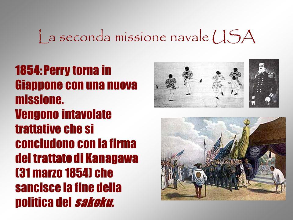 La seconda missione navale USA 1854: Perry torna in Giappone con una nuova missione. Vengono intavolate trattative che si concludono con la firma del