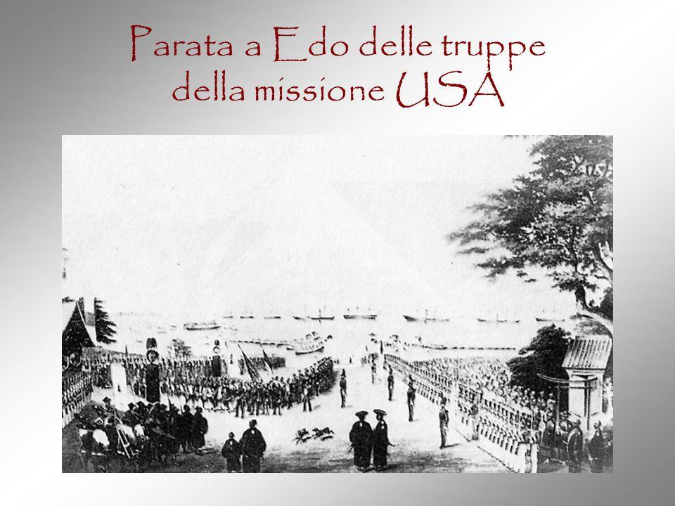 Parata a Edo delle truppe della missione USA