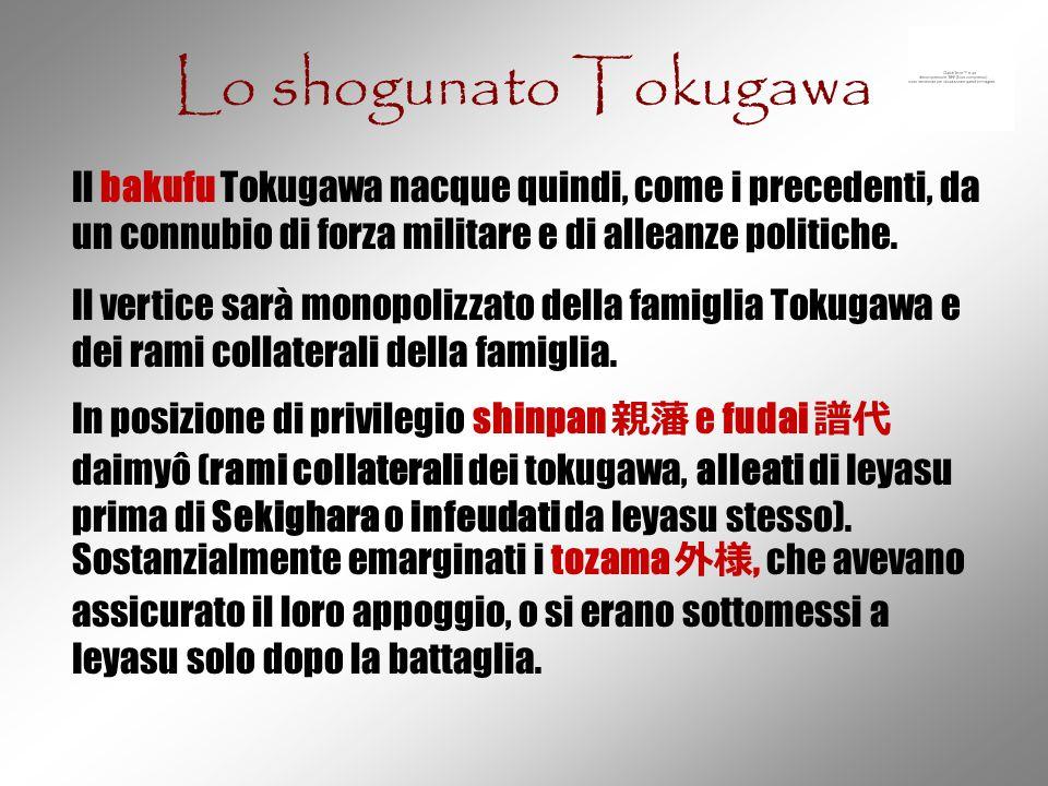 Lo shogunato Tokugawa Il bakufu Tokugawa nacque quindi, come i precedenti, da un connubio di forza militare e di alleanze politiche. Il vertice sarà m