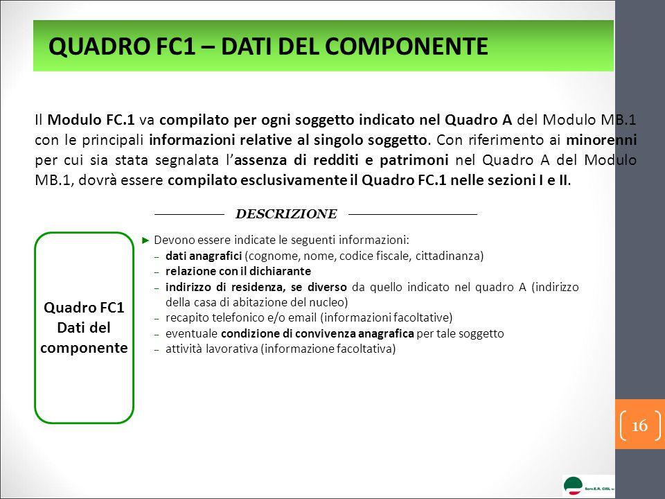 Quadro FC1 Dati del componente DESCRIZIONE ► Devono essere indicate le seguenti informazioni: ‒ dati anagrafici (cognome, nome, codice fiscale, cittad