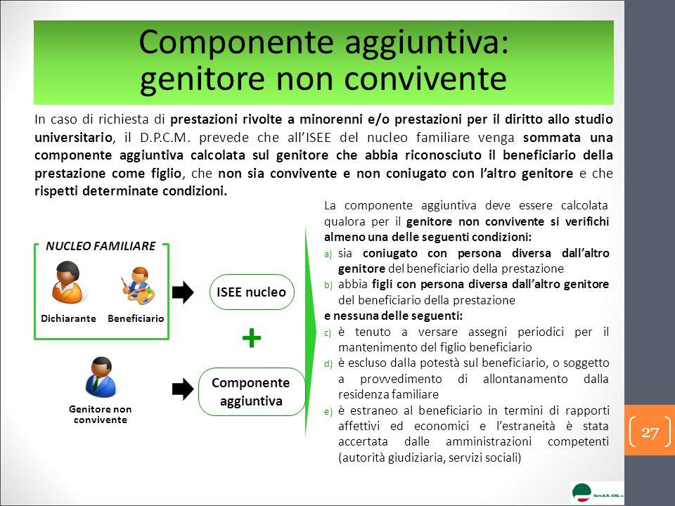 Componente aggiuntiva: genitore non convivente In caso di richiesta di prestazioni rivolte a minorenni e/o prestazioni per il diritto allo studio univ