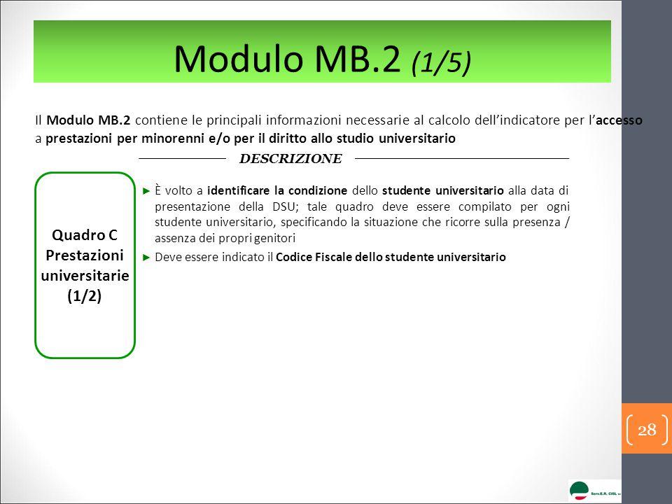 Modulo MB.2 (1/5) Il Modulo MB.2 contiene le principali informazioni necessarie al calcolo dell'indicatore per l'accesso a prestazioni per minorenni e