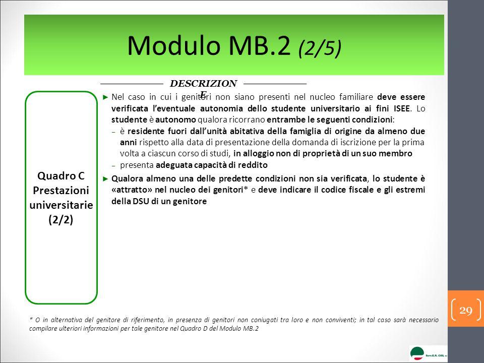 Modulo MB.2 (2/5) Quadro C Prestazioni universitarie (2/2) ► Nel caso in cui i genitori non siano presenti nel nucleo familiare deve essere verificata
