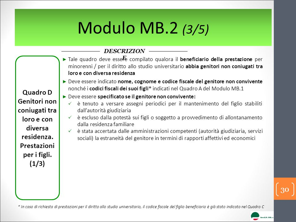 Modulo MB.2 (3/5) DESCRIZION E Quadro D Genitori non coniugati tra loro e con diversa residenza.