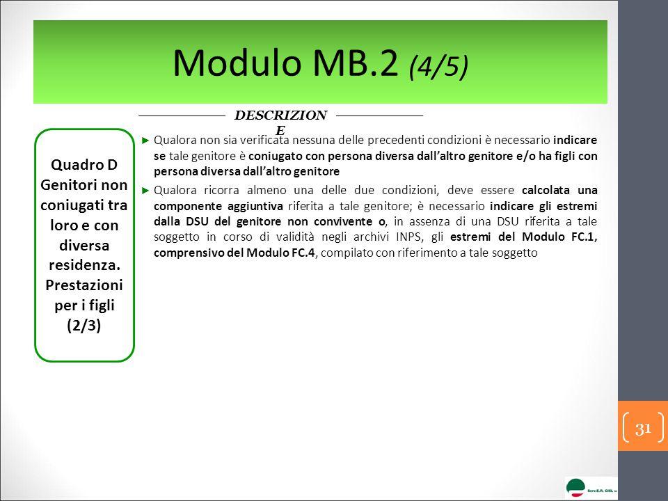 Modulo MB.2 (4/5) DESCRIZION E Quadro D Genitori non coniugati tra loro e con diversa residenza.