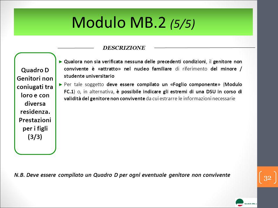 Modulo MB.2 (5/5) DESCRIZIONE Quadro D Genitori non coniugati tra loro e con diversa residenza.