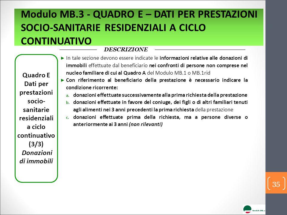 DESCRIZIONE Quadro E Dati per prestazioni socio- sanitarie residenziali a ciclo continuativo (3/3) Donazioni di immobili ► In tale sezione devono esse