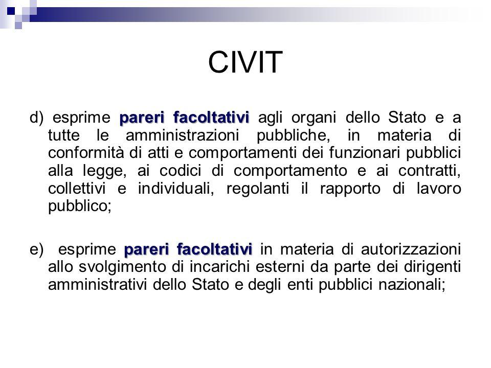 CIVIT pareri facoltativi d) esprime pareri facoltativi agli organi dello Stato e a tutte le amministrazioni pubbliche, in materia di conformità di att