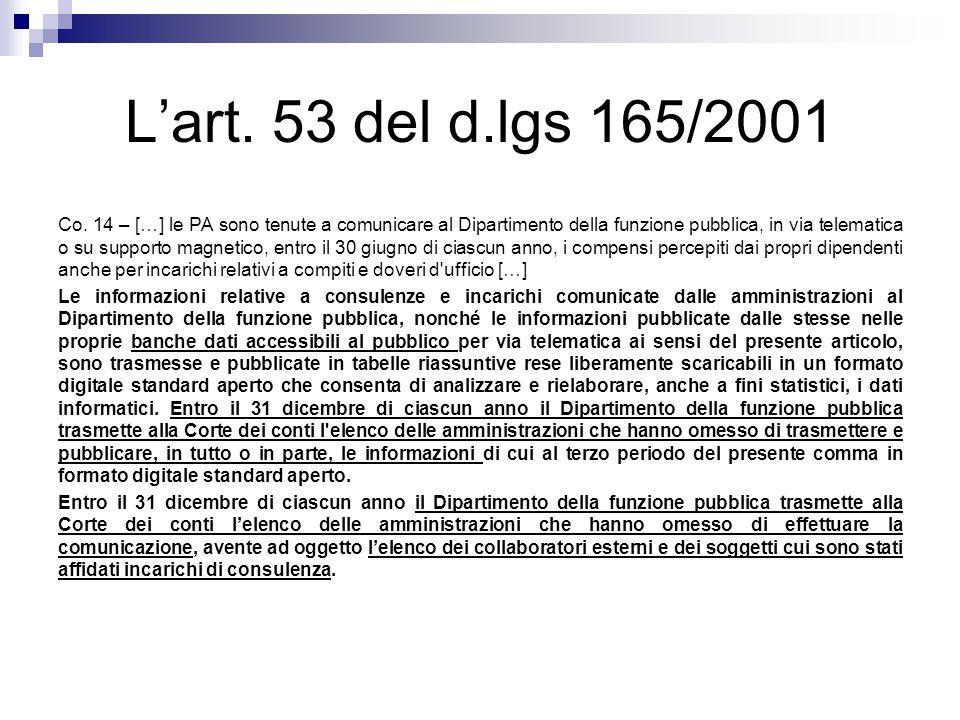 L'art. 53 del d.lgs 165/2001 Co. 14 – […] le PA sono tenute a comunicare al Dipartimento della funzione pubblica, in via telematica o su supporto magn