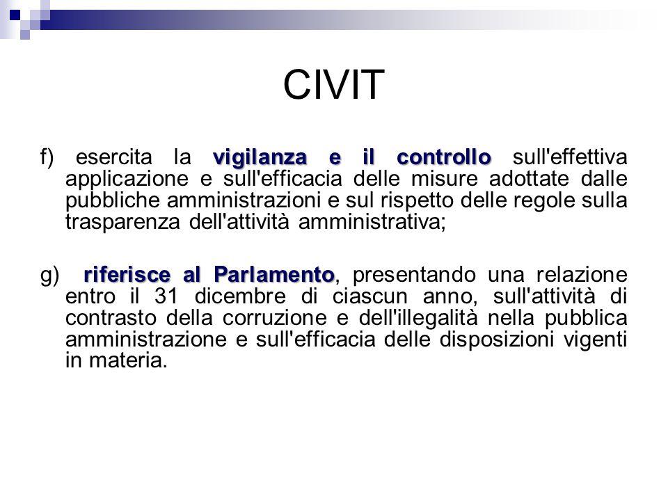 CIVIT vigilanza e il controllo f) esercita la vigilanza e il controllo sull'effettiva applicazione e sull'efficacia delle misure adottate dalle pubbli
