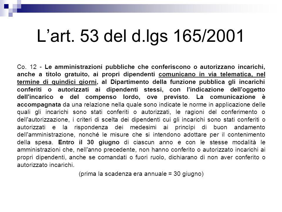 L'art. 53 del d.lgs 165/2001 Co. 12 - Le amministrazioni pubbliche che conferiscono o autorizzano incarichi, anche a titolo gratuito, ai propri dipend