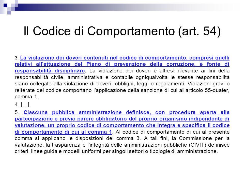 Il Codice di Comportamento (art. 54) 3. La violazione dei doveri contenuti nel codice di comportamento, compresi quelli relativi all'attuazione del Pi